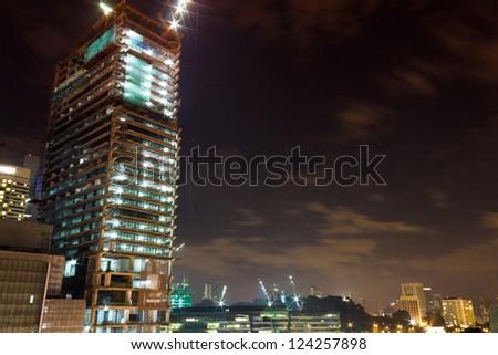 Skyline of Kuala Lumpur, Malaysia at night - Long exposure - stock photo