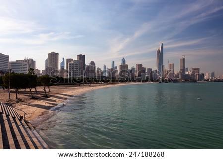 Skyline of Kuwait City. Middle East, Arabia - stock photo