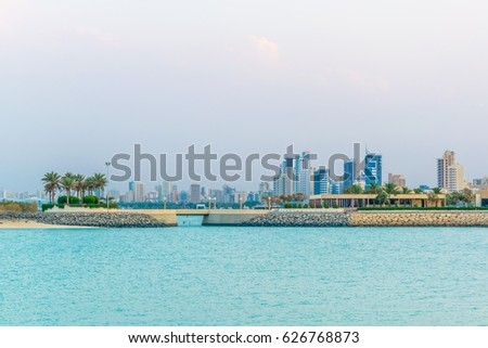 Skyline of Kuwait during sunset