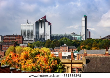 Skyline of Leeds city with old and new building in autumn season. - stock photo