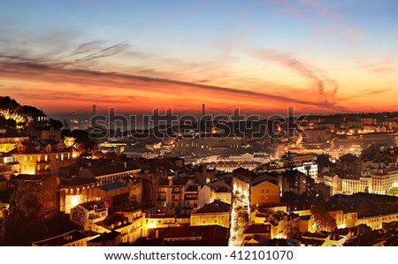 Skyline of Lisbon at beautiful twilight. Portugal