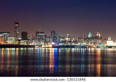 Skyline of Liverpool - stock photo
