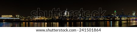 Skyline of London at night, England - stock photo