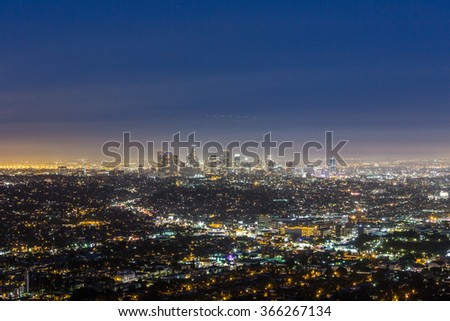 skyline of Los Angeles at night, USA.