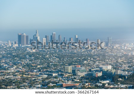 skyline of Los Angeles, USA.