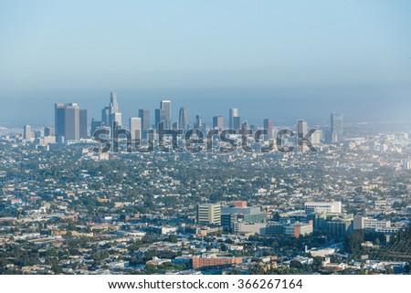 skyline of Los Angeles, USA. - stock photo