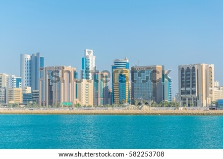 Skyline of Manama, Bahrain.