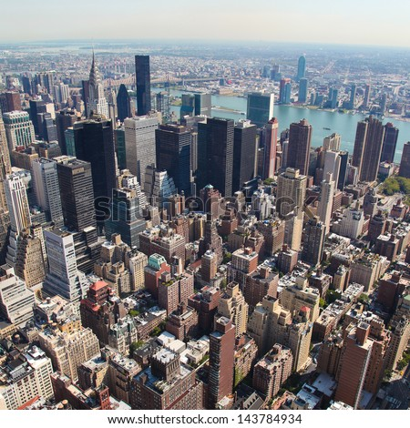 Skyline of Manhattan in New York City, United States (square)  - stock photo