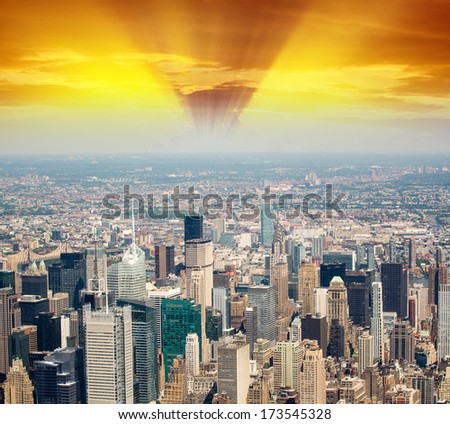 Skyline of Manhattan, New York.
