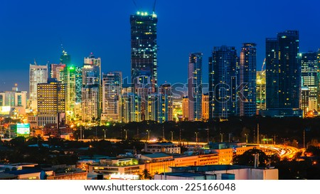 skyline of manila city, philippines