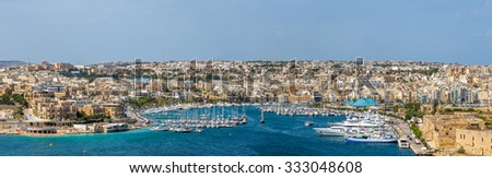 Skyline of Manoel Island yacht marina at daylight - Malta - stock photo