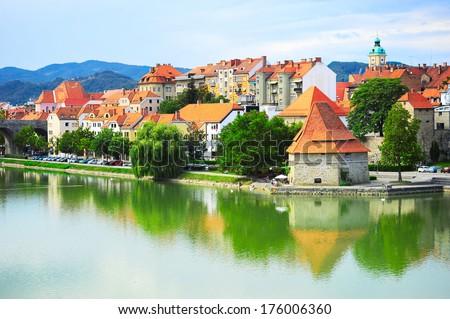 Skyline of Maribor city in the sunshine day, Slovenia - stock photo