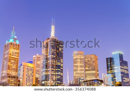 Skyline of Melbourne at dusk time, Australia.