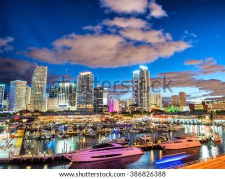 Skyline of Miami at sunset, Florida. - stock photo