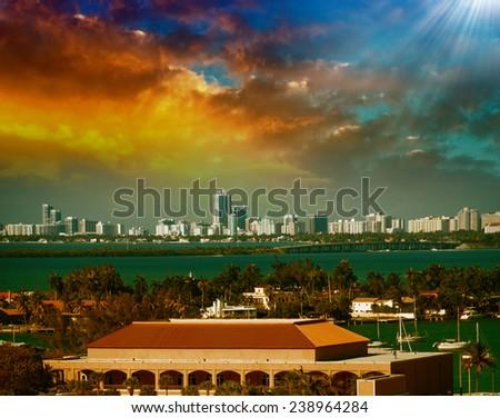 Skyline of Miami at sunset, Florida, USA. - stock photo