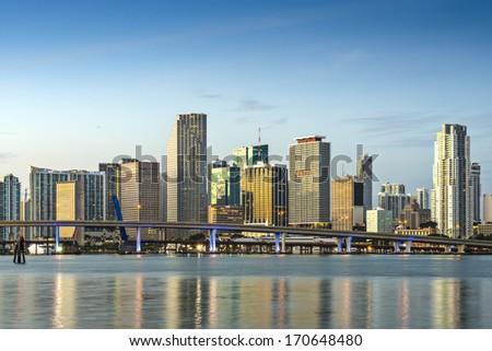 Skyline of Miami, Florida, USA. - stock photo