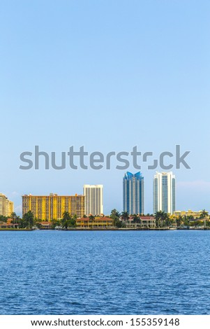 skyline of Miami Florida with  view to the sunny isles skyscraper - stock photo