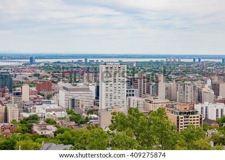 Skyline of Montreal, downtown. Summer. View from Mount-Royal.  - stock photo