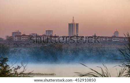 Skyline of Nairobi Kenya in pre-dawn hours