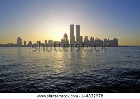 Skyline of New York City from New Jersey - stock photo