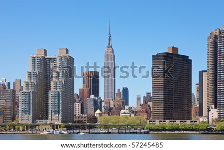 Skyline of New York City, NY, USA with Empire State Building - stock photo