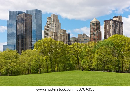 Skyline of New York, seen from Central park - stock photo