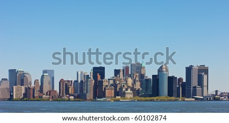 Skyline of New York seen from the Hudson river