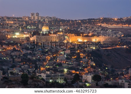 Skyline of of Jerusalem on a clear evening.