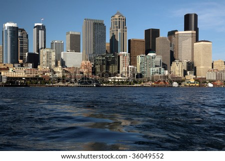 Skyline of pacific northwest Seattle from ocean boat