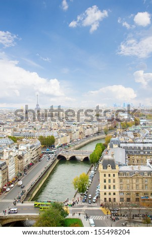 skyline of Paris city at sunny day , France - stock photo