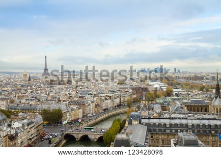 skyline of Paris city  from above, France - stock photo