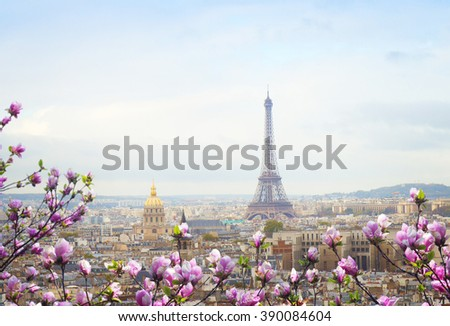 skyline of Paris city roofs with Eiffel Tower at spring day with tree bloom, France - stock photo