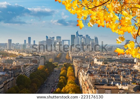skyline of Paris city  towards La Defense district at sunny autumn day, France - stock photo
