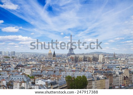 skyline of Paris city with eiffel tower from above at day, France - stock photo