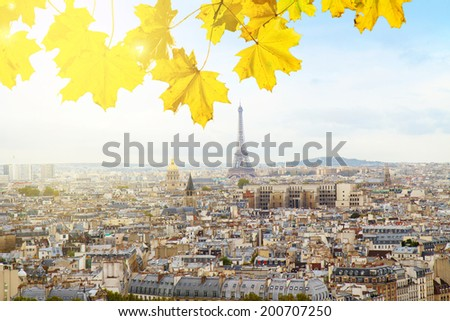 skyline of Paris city with eiffel tower from above at sunny autumn day, France - stock photo