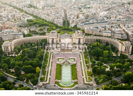 Skyline of Paris, France, view from the Eiffel Tower - stock photo