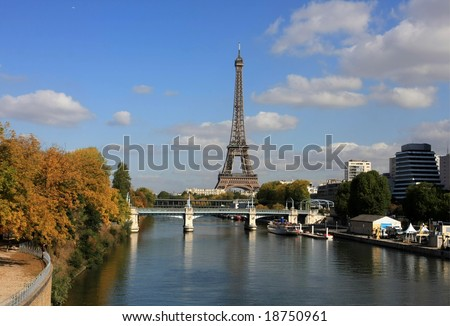 Skyline of Paris in a beautiful autumn day