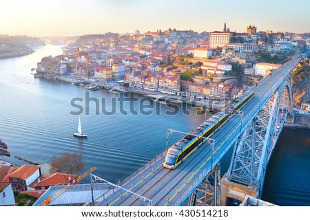 Skyline of Porto with famous Dom Luis bridge. Portugal