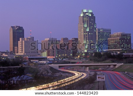 Skyline of Raleigh, NC after sunset