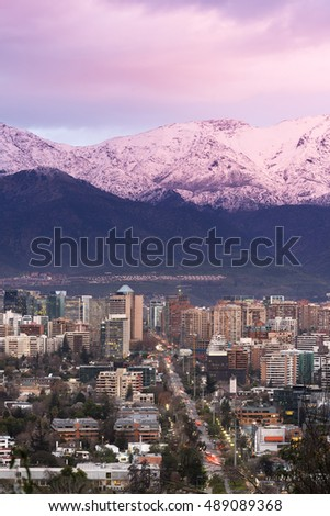 Skyline of residential and office buildings in the wealthy district of Vitacura and Las Condes, Santiago de Chile