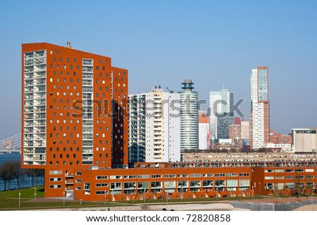 Skyline of Rotterdam, Holland, The Netherlands - stock photo
