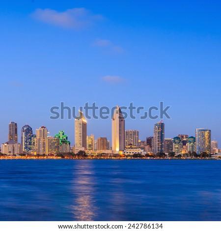 Skyline of San Diego, California from Coronado Bay, USA - stock photo