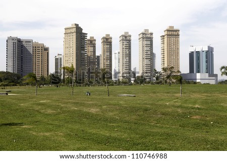 skyline of sao paulo, brazil. building and park