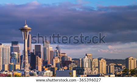 skyline of Seattle, downtown in sunset.