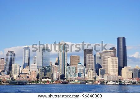 Skyline of Seattle, Washington from Puget Sound - stock photo