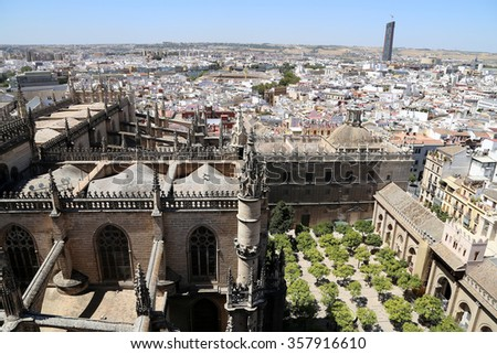 Skyline of Seville and Cathedral of Seville -- Cathedral of Saint Mary of the See, Andalusia, Spain  - stock photo