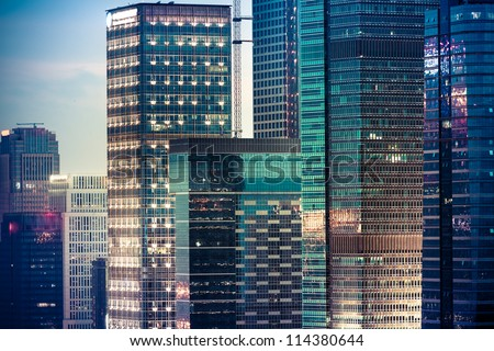 skyline of shenzhen china at night. - stock photo