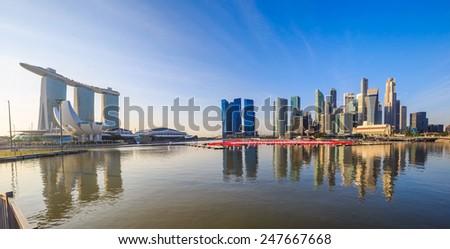 Skyline of Singapore at a beautiful sunset - stock photo