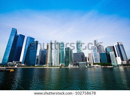 Skyline of Singapore business district (Singapore) - stock photo