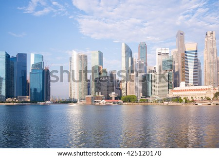skyline of singapore by the marina bay